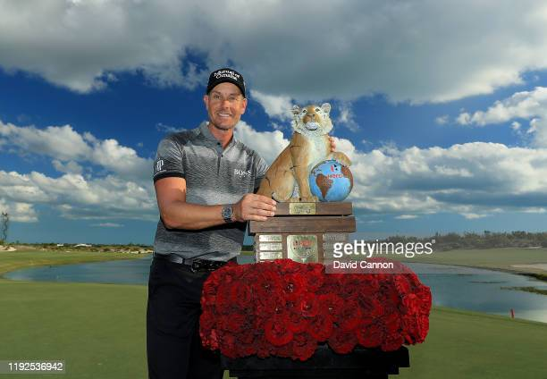 Henrik Stenson of Sweden poses with the trophy after the final round of the 2019 Hero World Challenge at Albany on December 07, 2019 in Nassau,...
