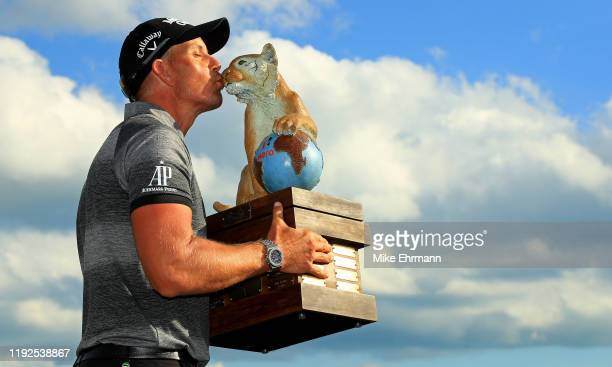 Henrik Stenson of Sweden poses with the trophy after winning the Hero World Challenge at Albany on December 07, 2019 in Nassau, Bahamas.