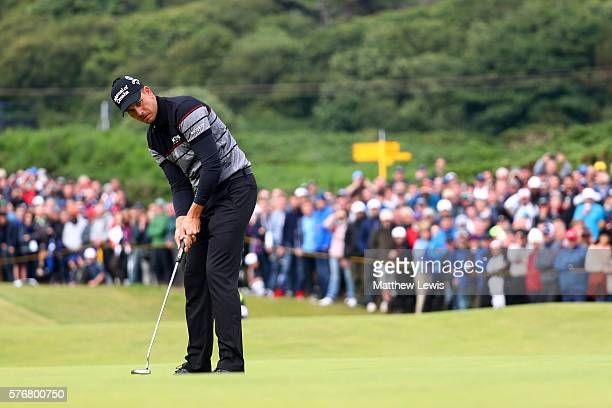 Henrik Stenson of Sweden putts on the 12th during the final round on day four of the 145th Open Championship at Royal Troon on July 17 2016 in Troon...