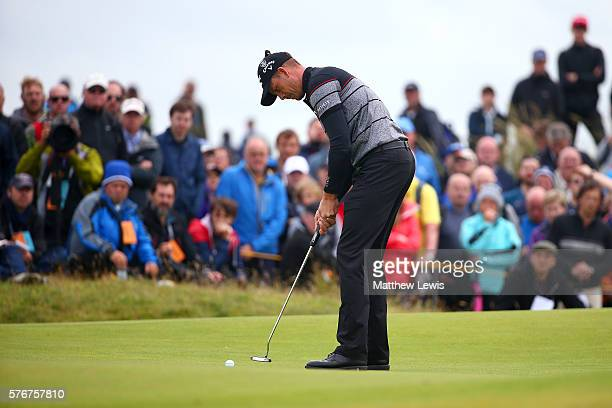 Henrik Stenson of Sweden putts on the 4th during the final round on day four of the 145th Open Championship at Royal Troon on July 17 2016 in Troon...