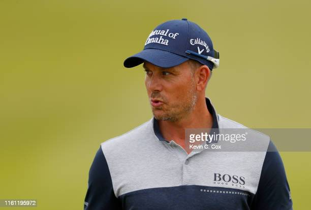 Henrik Stenson of Sweden reacts after a missed putt on the second green during the pro-am event prior to the start of the Aberdeen Standard...