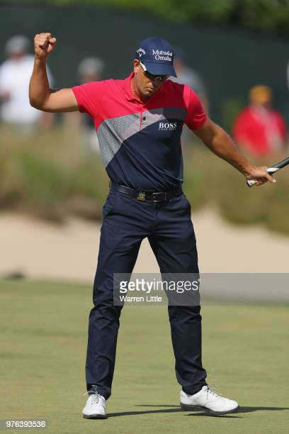 Henrik Stenson of Sweden reacts on on the sixth green during the third round of the 2018 US Open at Shinnecock Hills Golf Club on June 16 2018 in...