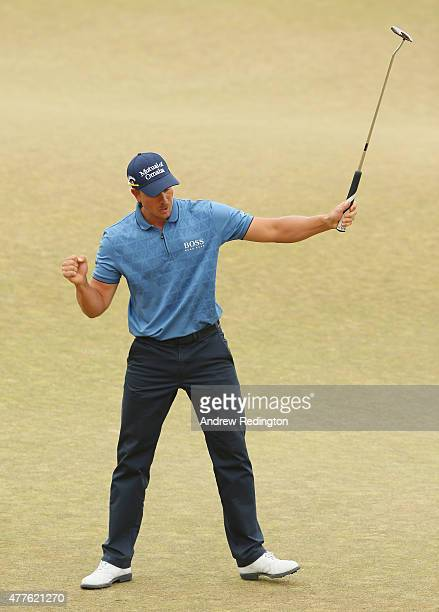 Henrik Stenson of Sweden reacts on the 18th green during the first round of the 115th US Open Championship at Chambers Bay on June 18 2015 in...