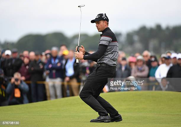 Henrik Stenson of Sweden reacts on the 5th green during the final round on day four of the 145th Open Championship at Royal Troon on July 17 2016 in...