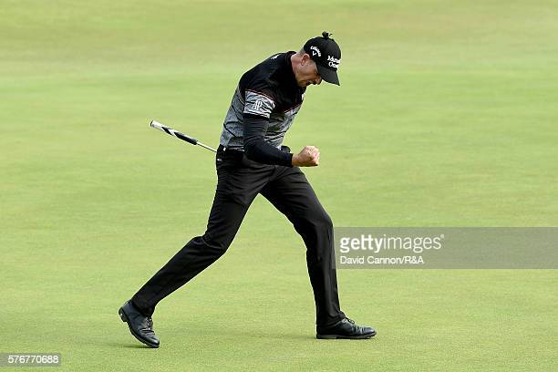 Henrik Stenson of Sweden reacts to a birdie putt on the 15th green during the final round on day four of the 145th Open Championship at Royal Troon...