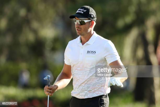 Henrik Stenson of Sweden reacts to a shot on the 17th hole during the third round of the Valspar Championship at Innisbrook Resort Copperhead Course...