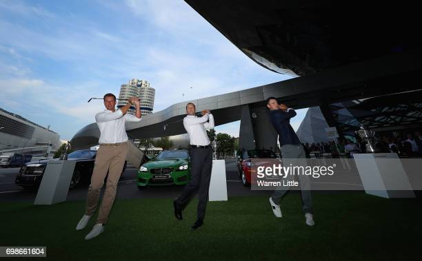 Henrik Stenson of Sweden Sergio Garcia of Spain and Martin Kaymer of Germany pose for a picture after showing off their chipping skills at the proam...