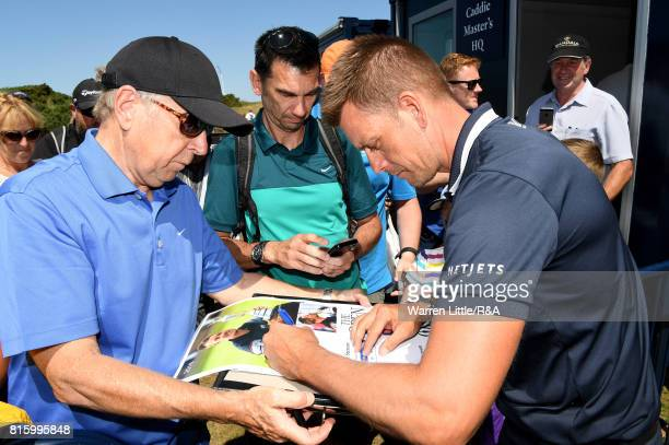 Henrik Stenson of Sweden signs autographs for the fans during a practice round prior to the 146th Open Championship at Royal Birkdale on July 17 2017...