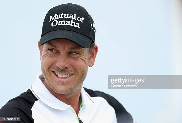 Henrik Stenson of Sweden smiles on the first tee during the final round of the Hero World Challenge at Albany The Bahamas on December 4 2016 in...