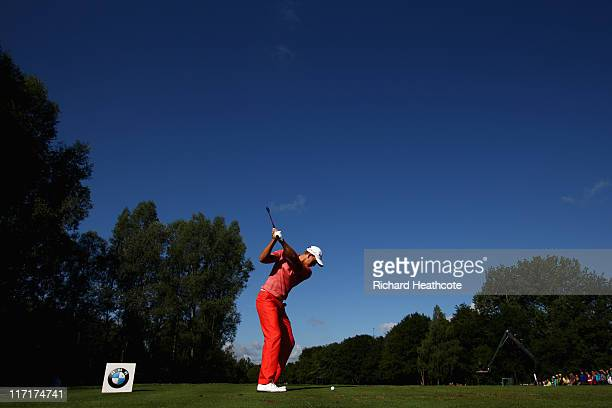 Henrik Stenson of Sweden tee's off at the 12th during the second round of the BMW International Open at Golfclub Munchen Eichenried on June 24 2011...