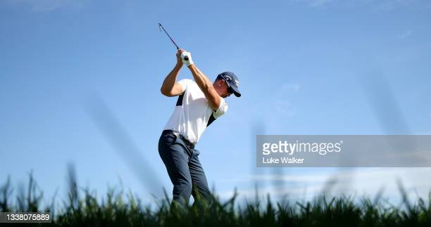 Henrik Stenson of Sweden tees off on the 11th hole during Day Two of The Italian Open at Marco Simone Golf Club on September 03, 2021 in Rome, Italy.