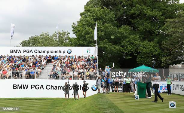 Henrik Stenson of Sweden tees off on the 1st hole during day three of the BMW PGA Championship at Wentworth on May 27 2017 in Virginia Water England