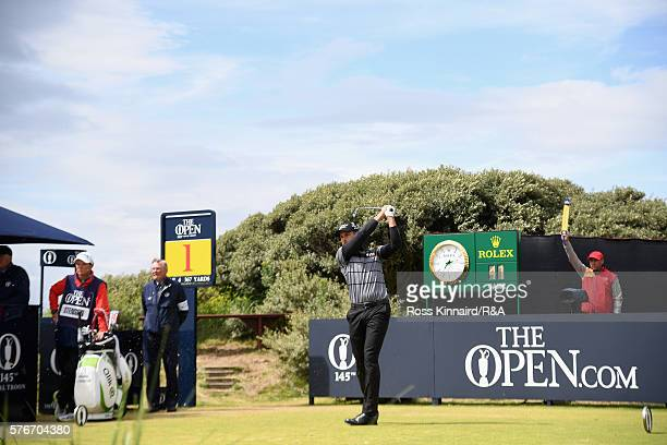 Henrik Stenson of Sweden tees off on the 1st hole during the final round on day four of the 145th Open Championship at Royal Troon on July 17 2016 in...