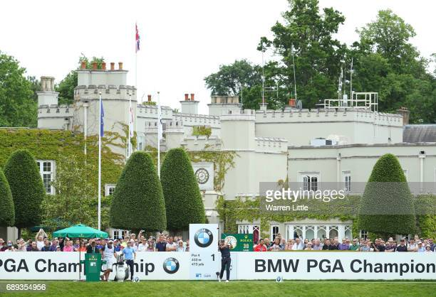 Henrik Stenson of Sweden tees off on the 1st hole during the final round on day four of the BMW PGA Championship at Wentworth on May 28 2017 in...