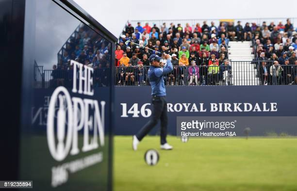Henrik Stenson of Sweden tees off on the 1st hole during the first round of the 146th Open Championship at Royal Birkdale on July 20, 2017 in...