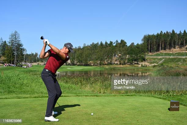 Henrik Stenson of Sweden tees off on the 2nd hole during the final round of the Scandinavian Invitation at Hills Golf & Sports Club on August 25,...