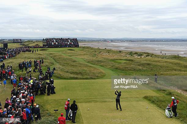 Henrik Stenson of Sweden tees off on the 5th hole during the final round on day four of the 145th Open Championship at Royal Troon on July 17 2016 in...