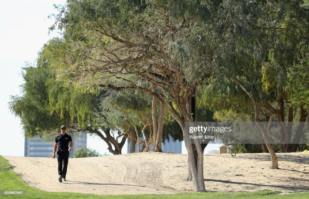 Henrik Stenson of Sweden walks down the 13th hole during the final round of the Omega Dubai Desert Classic on the Majlis course at Emirates Golf Club on February 5, 2017 in Dubai, United Arab Emirates.
