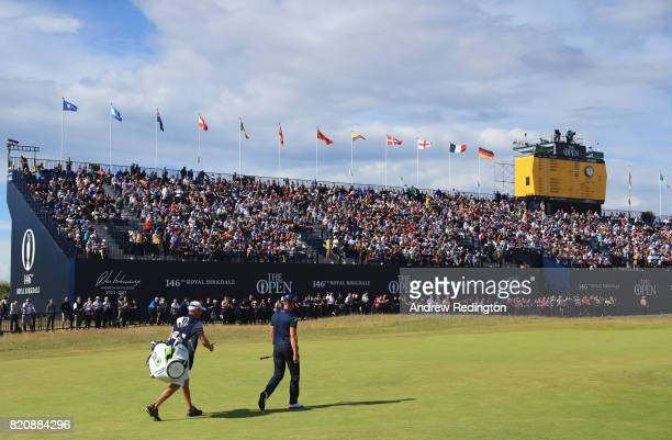 Henrik Stenson of Sweden walks down the 18th fairway during the third round of the 146th Open Championship at Royal Birkdale on July 22 2017 in...