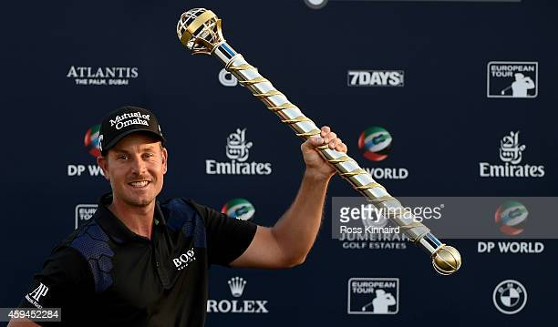 Henrik Stenson of Sweden with the DP World Tour Championship trophy after the final round of the DP World Tour Championship at Jumeirah Golf Estates...