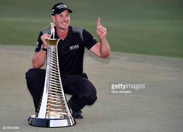 Henrik Stenson of Sweden with the Race to Dubai Trophy after his final round of the DP World Tour Championship at Jumeirah Golf Estates on November...