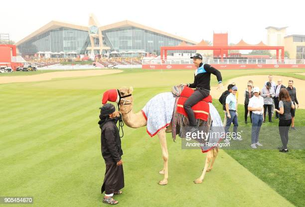 Henrik Stenson of Swedentakes part in a photocall for the Abu Dhabi HSBC Golf Championship at Abu Dhabi Golf Club on January 16 2018 in Abu Dhabi...