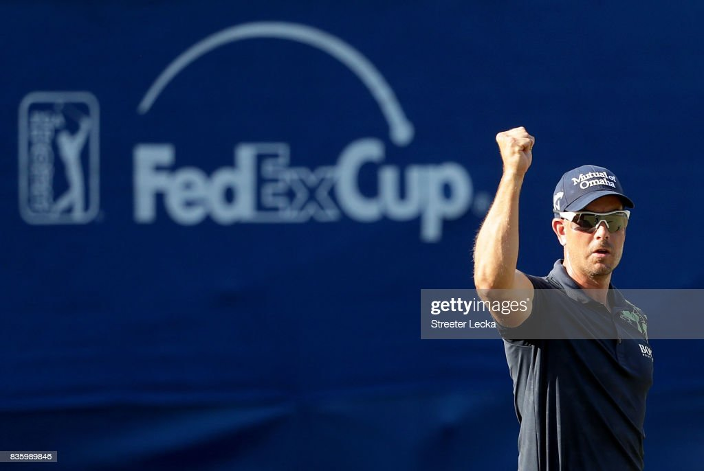 Henrik Stenson reacts after making a putt on the 17th hole during the final round of the Wyndham Championship at Sedgefield Country Club on August 20, 2017 in Greensboro, North Carolina.