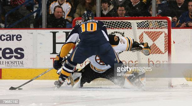 Henrik Tallinder of the Buffalo Sabres is stopped in the shootout by Alex Auld of the Boston Bruins on February 8, 2008 at HSBC Arena in Buffalo, New...