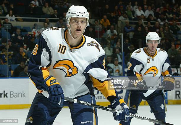 Henrik Tallinder of the Buffalo Sabres looks on against the New York Islanders on December 19, 2007 at Nassau Coliseum in Uniondale, New York