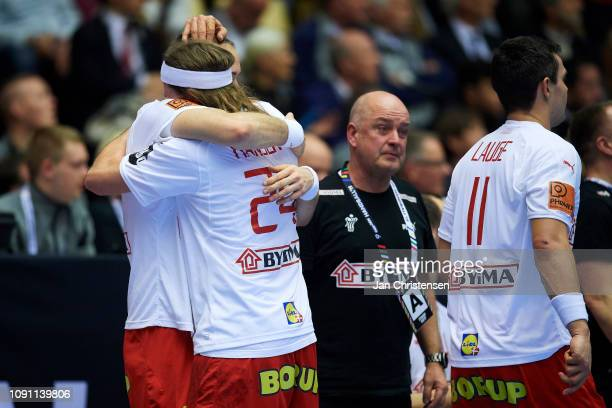 Henrik Toft Hansen of Denmark and Mikkel Hansen of Denmark celebrate during the IHF Men's World Championships Handball Final between Denmark and...