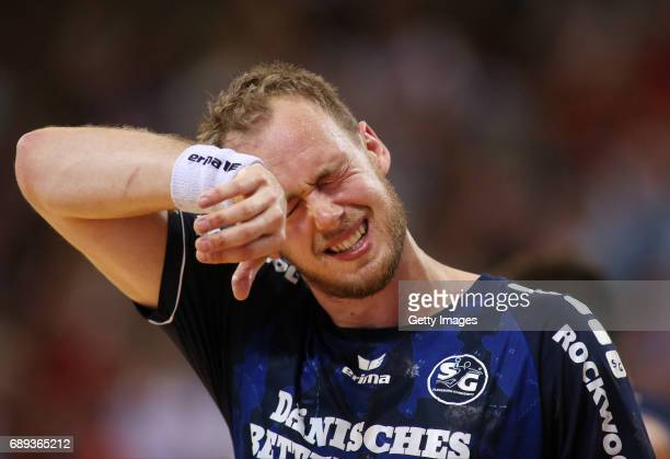 Henrik Toft Hansen of SG Flensburg Handewitt is disappointed during the Game SG Flensburg Handewitt v Rhein Neckar Loewen at FlensArena on May 28...