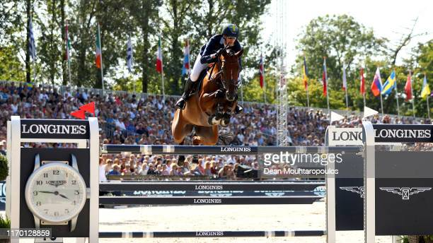 Henrik von Eckermann of Sweden riding Toveks Mary Lou competes during Day 7 of the Individual Final, Longines FEI Jumping European Championship...