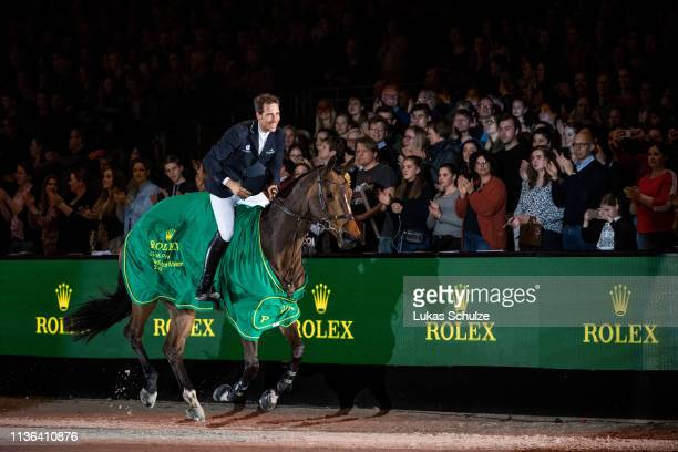 Henrik von Eckermann rides Toveks Mary Lou for the 1st place and celebrates during the The Dutch Masters: Rolex Grand Slam of Showjumping at...