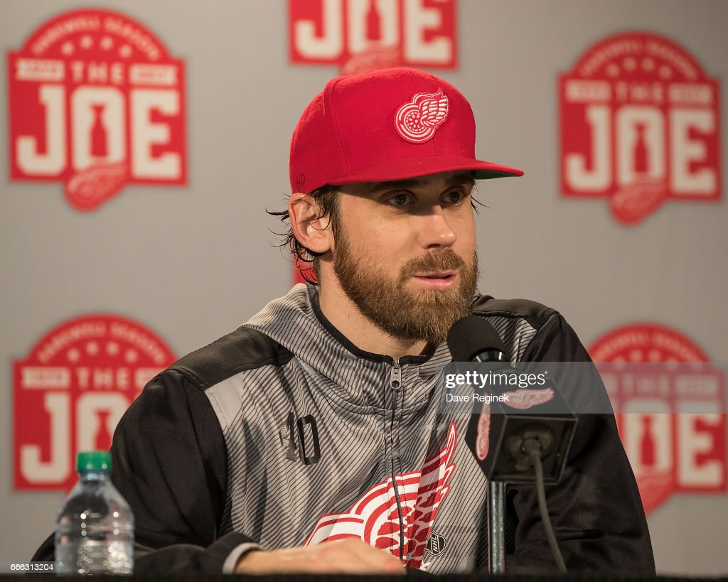 Henrik Zetterberg #40 of the Detroit Red Wings answers questions during a press conference following an NHL game against the Montreal Canadiens at Joe Louis Arena on April 8, 2017 in Detroit, Michigan. The Canadiens defeated the Wings 3-2 in overtime.