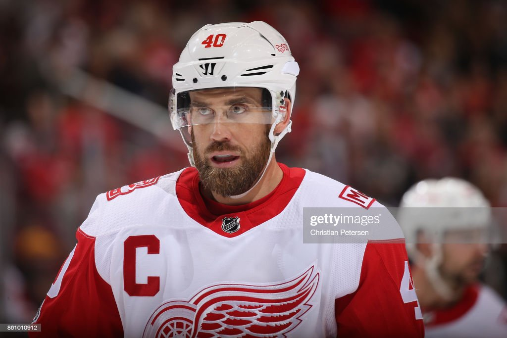 Henrik Zetterberg #40 of the Detroit Red Wings during the second period of the NHL game against the Arizona Coyotes at Gila River Arena on October 12, 2017 in Glendale, Arizona. The Red Wings defeated the Coyotes 4-2.