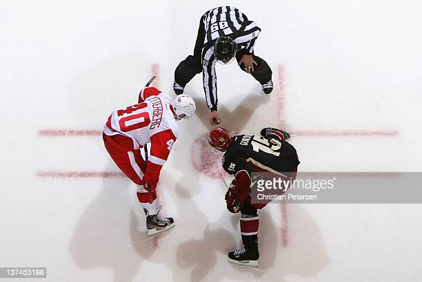 Henrik Zetterberg of the Detroit Red Wings faces off against Boyd Gordon of the Phoenix Coyotes during the NHL game at Jobingcom Arena on January 19...