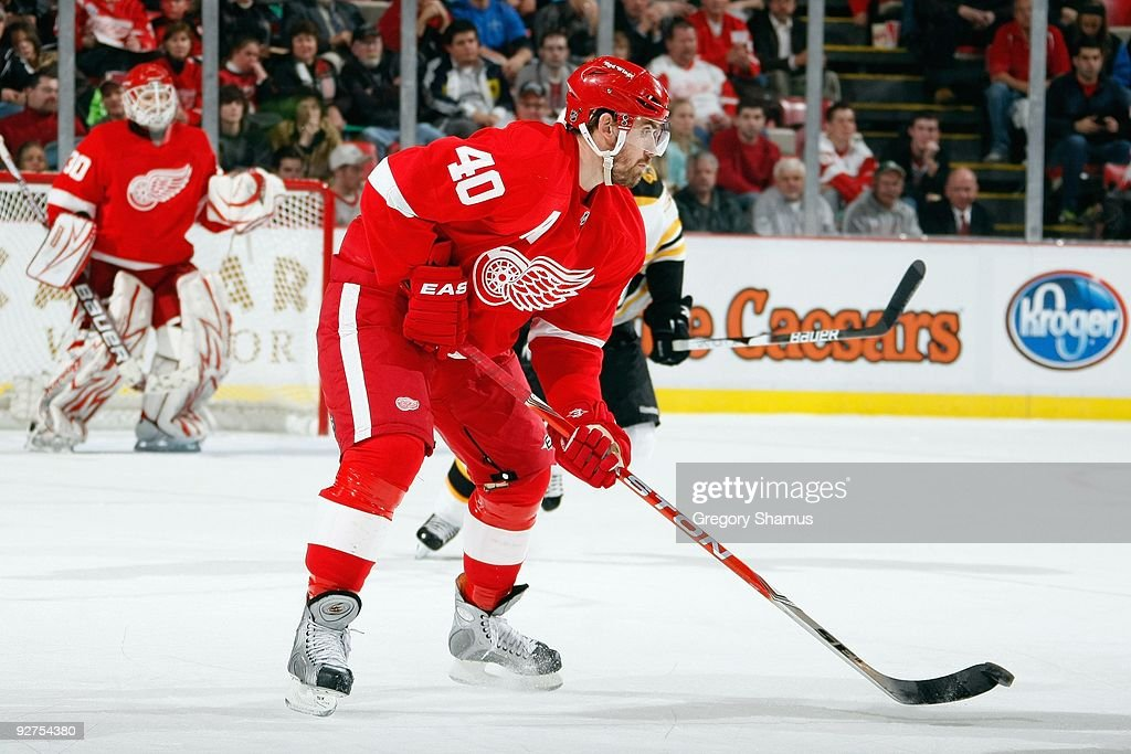 Henrik Zetterberg #40 of the Detroit Red Wings handles the puck during the game against the Boston Bruins on November 3, 2009 at Joe Louis Arena in Detroit, Michigan.