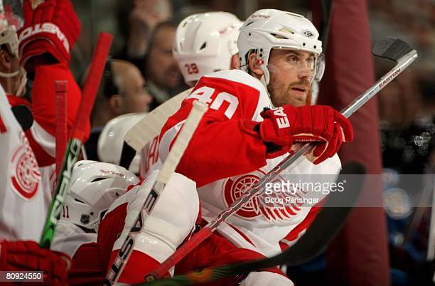 Henrik Zetterberg of the Detroit Red Wings leaves the bench against the Colorado Avalanche in Game Three of the Western Conference Semifinals of the...