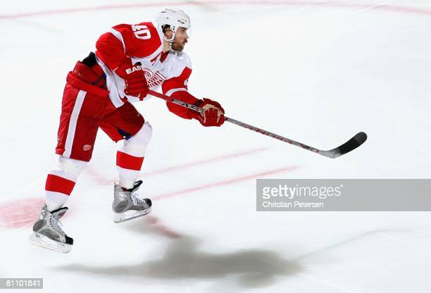 Henrik Zetterberg of the Detroit Red Wings scores a third period goal against the Dallas Stars during game four of the Western Conference Finals of...