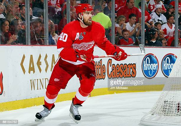 Henrik Zetterberg of the Detroit Red Wings skates against the Pittsburgh Penguins during Game 1 of the 2009 Stanley Cup Finals at Joe Louis Arena on...