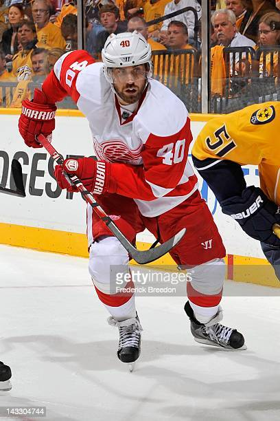 Henrik Zetterberg of the Detroit Red Wings skates against the Nashville Predators in Game Five of the Western Conference Quarterfinals during the...