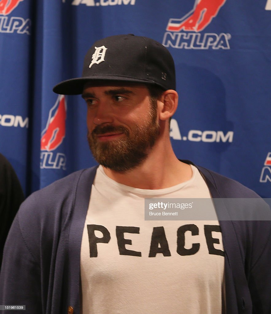 Henrik Zetterberg of the Detroit Red Wings speaks with the media following the NHLPA meeting at Marriott Marquis Times Square on September 13, 2012 in New York City.