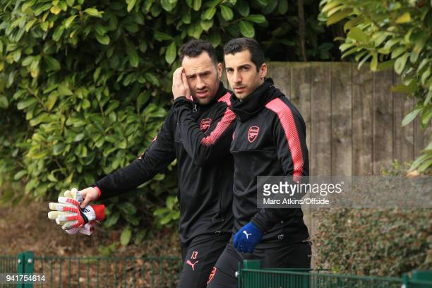 Henrikh Mkhitaryan and David Ospina of Arsenal during an Arsenal Training Session ahead of their Europa League 1/4 final 1st leg match against CSKA...