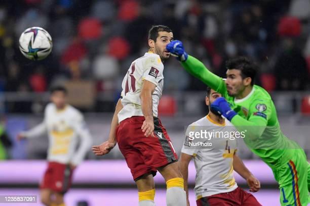 Henrikh Mkhitaryan and Florin Nita during the FIFA World Cup Qatar 2022 qualification Group J football match between Romania and Armenia in...