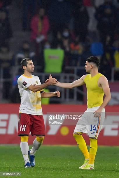 Henrikh Mkhitaryan and Ianis Hagi during the FIFA World Cup Qatar 2022 qualification Group J football match between Romania and Armenia in Bucharest,...