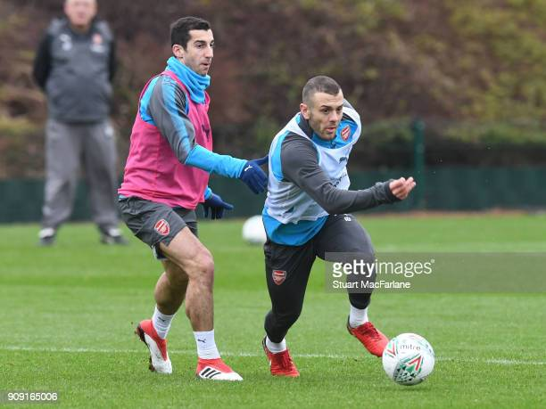 Henrikh Mkhitaryan and Jack Wilshere during a training session at London Colney on January 23 2018 in St Albans England