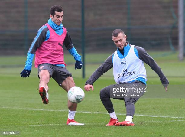 Henrikh Mkhitaryan and Jack Wilshere of Arsenal during a training session at London Colney on January 23 2018 in St Albans England