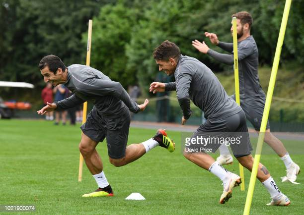 Henrikh Mkhitaryan and Lucas Torreira of Arsenal during Arsenal Training Session at London Colney on August 23 2018 in St Albans England