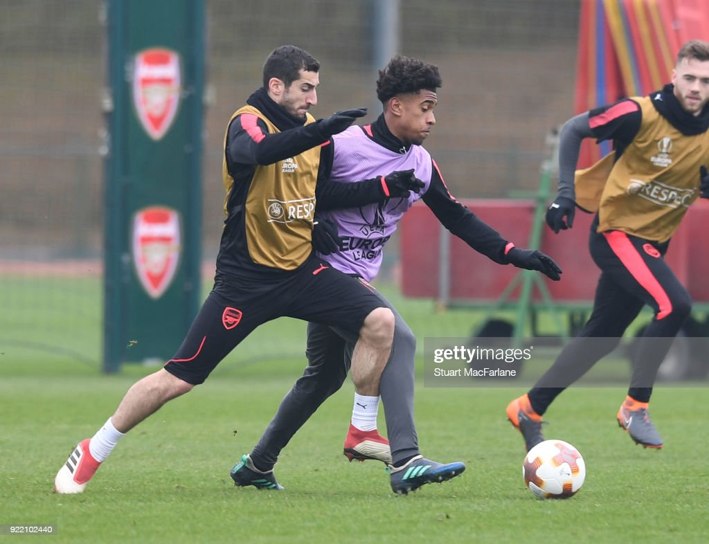 Henrikh Mkhitaryan and Reiss Nelson of Arsenal during a training session at London Colney on February 21, 2018 in St Albans, England.