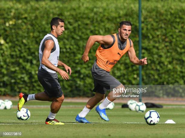 Henrikh Mkhitaryan and Sead Kolasinac of Arsenal during a training session at London Colney on July 16 2018 in St Albans England